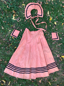 Vintage 1930's Pink Polished Cotton Halloween Skirt, Collar and Cuffs
