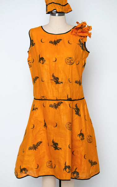 Vintage 1920's 1930's Halloween Novelty Print Dress with Matching Pointy Witch Hat