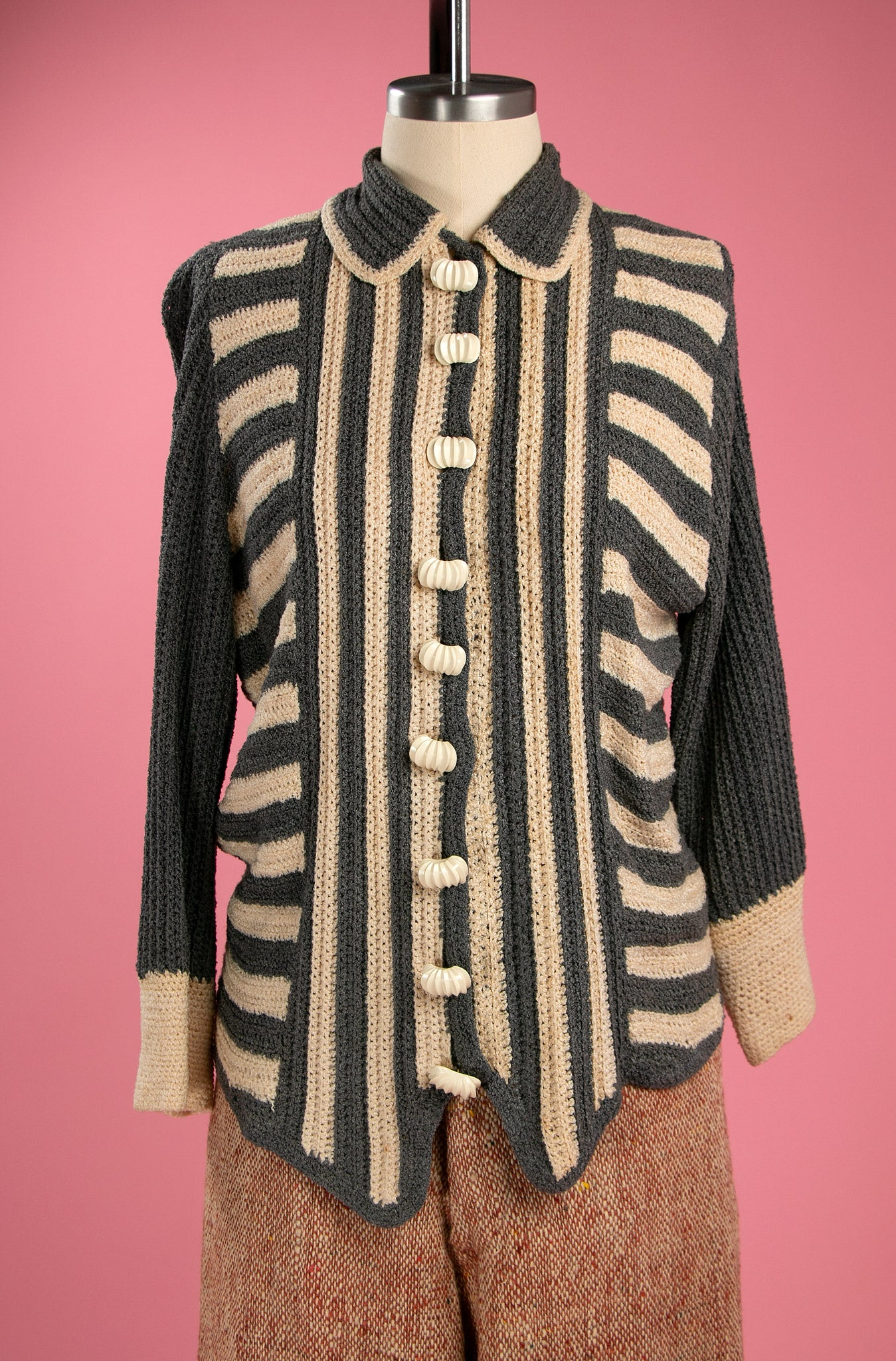 Vintage 1930's Striped Rayon Knit Sweater