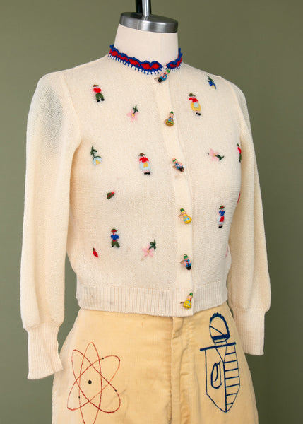Vintage 1940's Wooden People Embroidered Sweater