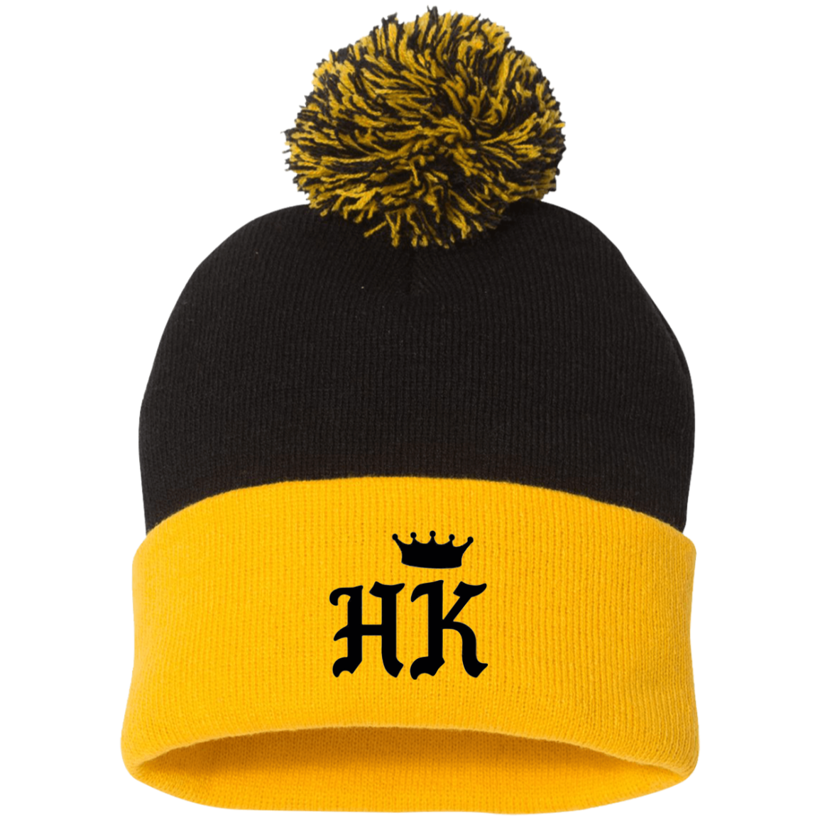 The H&K Black Crown Pom Pom Knit Cap