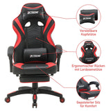 Olsen & Smith XTREME Gaming Chair Ergonomic Office Desk PC Computer Recliner Swivel Chair Detachable Padded Head Rest Lumbar Support Cushion & Footrest (Black/Red)