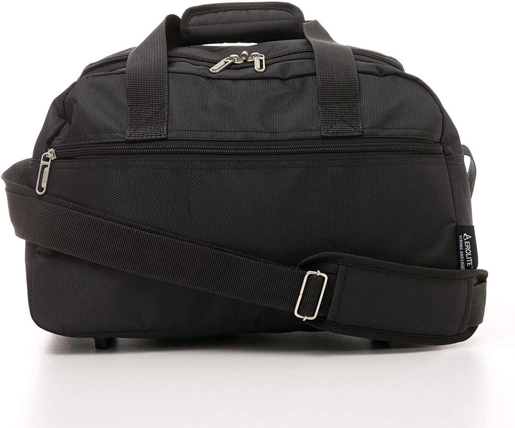 Aerolite 40x20x25 New and Improved 2020 Ryanair Maximum Size Holdall Cabin Luggage Under Seat Flight Bag, (Black)