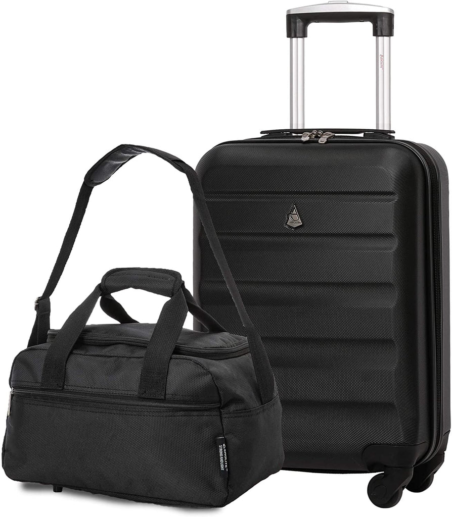 Aerolite 55x35x20cm Lightweight ABS Hard Shell Travel Carry On Cabin Hand Luggage Suitcase + 40x20x25 Ryanair Maximum Sized Holdall Cabin Bag (Black + Black)