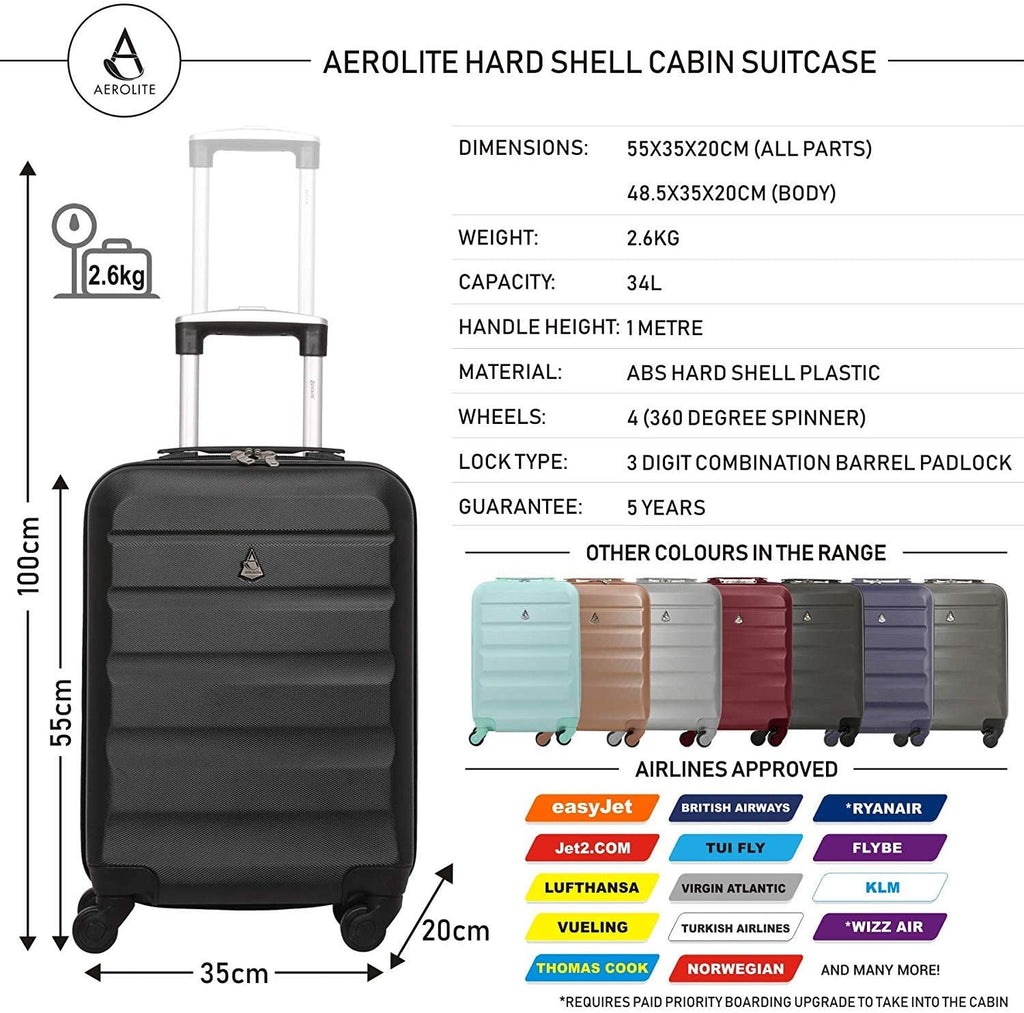 Aerolite 55x35x20cm Lightweight ABS Hard Shell Travel Carry On Cabin Hand Luggage Suitcase + 40x20x25 Ryanair Maximum Sized Holdall Cabin Bag (Black + Rose Gold)