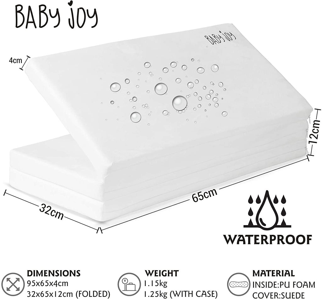 Baby Joy 100% Waterproof Luxury Portable Folding Foam Child Travel Mattress, Perfect Fit for Medium BABY JOY, RED Kite and GRACO Travel Cots, 95 x 65cm. Includes Carry Case