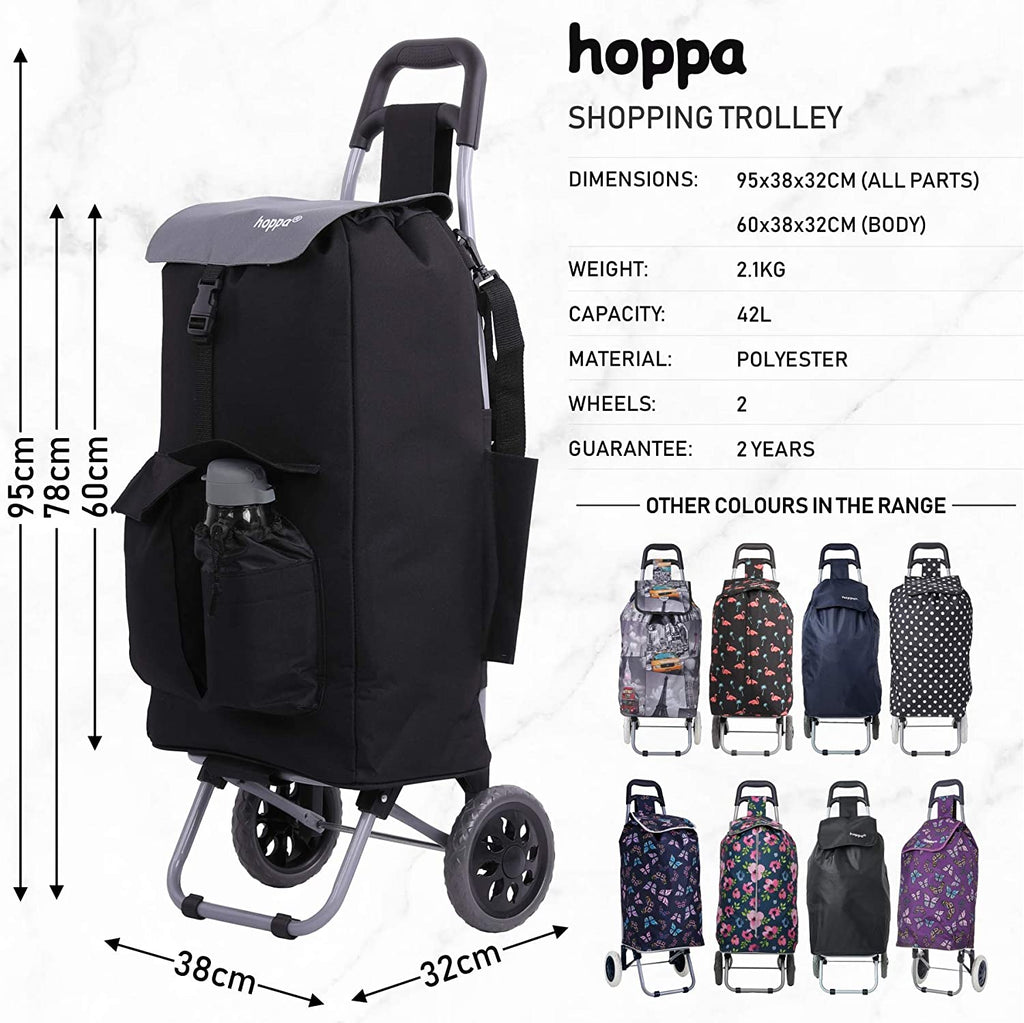 Hoppa Fully Insulated Lightweight 2 Wheeled Large 42Litre Capacity Shopping Trolley Bag 95cm, 2.1kg with Shoulder Strap