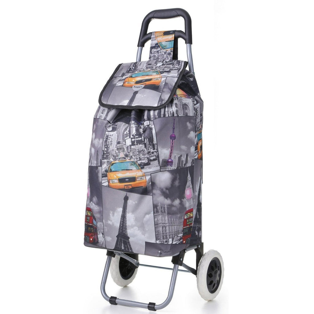 Roll over image to zoom in Hoppa 47L Lightweight Shopping Trolley, Hard Wearing & Foldaway for Easy Storage with 3 Years Guarantee (Cities)
