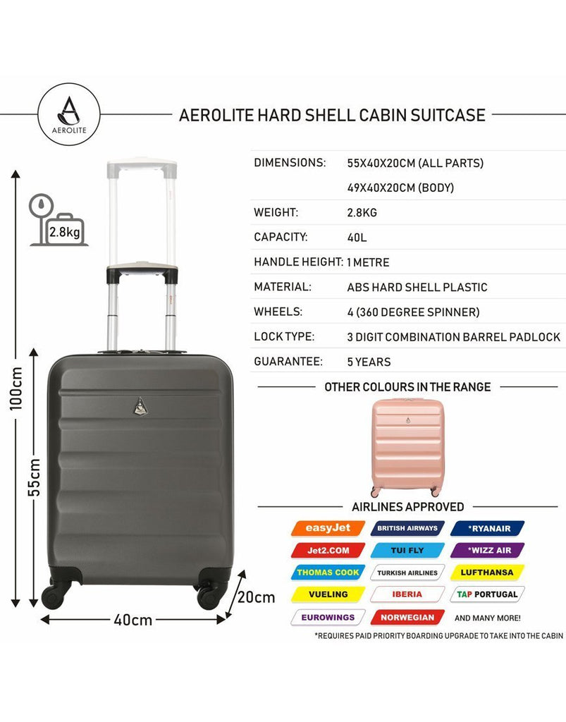 Aerolite (55x40x20cm) Lightweight Hard Shell Cabin Hand Luggage | 4 Wheels