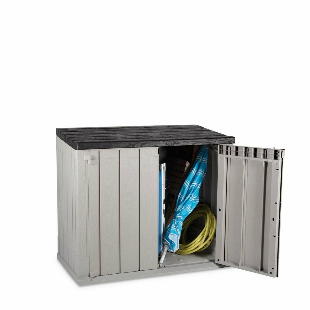 TOOMAX Storaway 842L Outdoor Garden Plastic Storage Shed Box - Grey and Black - 130 x 75 x 110 cm