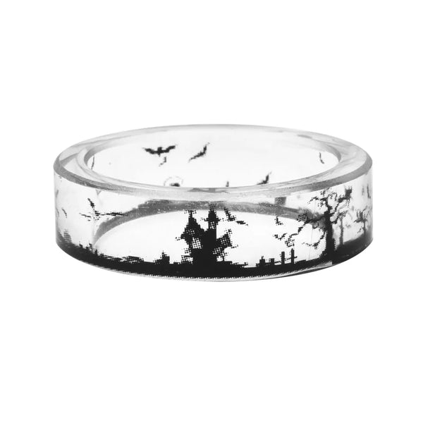 Clear Resin Bats and Spooky House Ring - biker-rings.co.uk