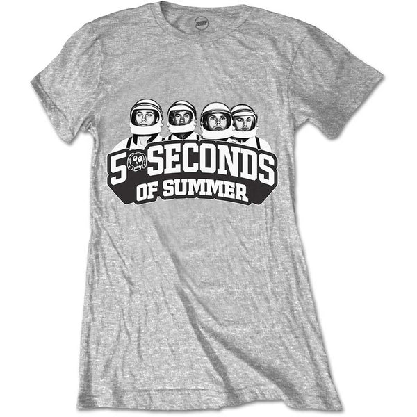 5 Seconds of Summer Ladies Licensed Official T-Shirt: Spaced Out Crew