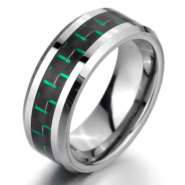 Silver Stainless Steel Green Carbon Fibre 8mm Wedding Band Ring - biker-rings.co.uk