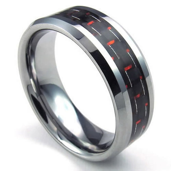 Silver Stainless Steel Red Carbon Fibre 8mm Wedding Band Ring - biker-rings.co.uk