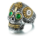 Silver Tone Green Eye CZ Mexican Sugar Skull Ring - biker-rings.co.uk
