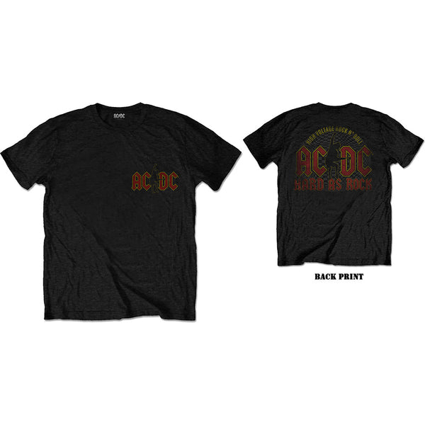 AC/DC Mens Officially Licenced T-Shirt: Hard As Rock (Back Print)