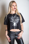 Alice Cooper Ladies Licensed Official Fashion T-Shirt: Spider Splatter with Boxy Styling and Illuminous Printing