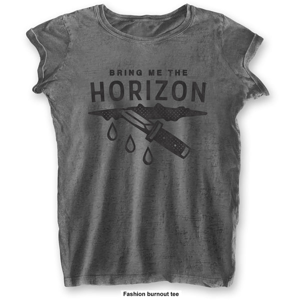 Bring Me The Horizon Ladies Licensed Official Fashion T-Shirt: Wound (Burn Out)