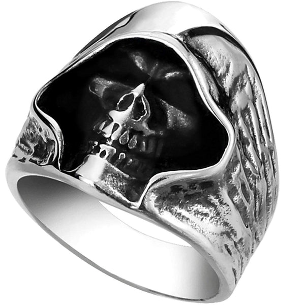 Mens Steel Alloy Ring Silver Tone Biker Death Grim Reaper Gothic Skull upto Z3 - biker-rings.co.uk