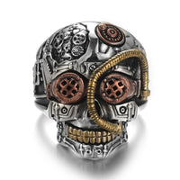 Large Mens Steampunk Robot Skull Detailed UK Sizes Biker Ring - biker-rings.co.uk