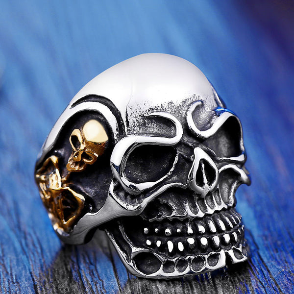 Silver Gold Tone Kabala Style Gothic Stainless Steel Skull Ring - biker-rings.co.uk
