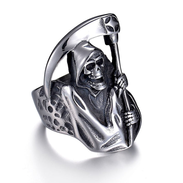 Mens Large Stainless Steel Skull Grim Reaper Ring - biker-rings.co.uk