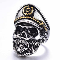 Gothic Stainless Steel Bearded Navy Captain Ghost Skull Biker Ring - biker-rings.co.uk