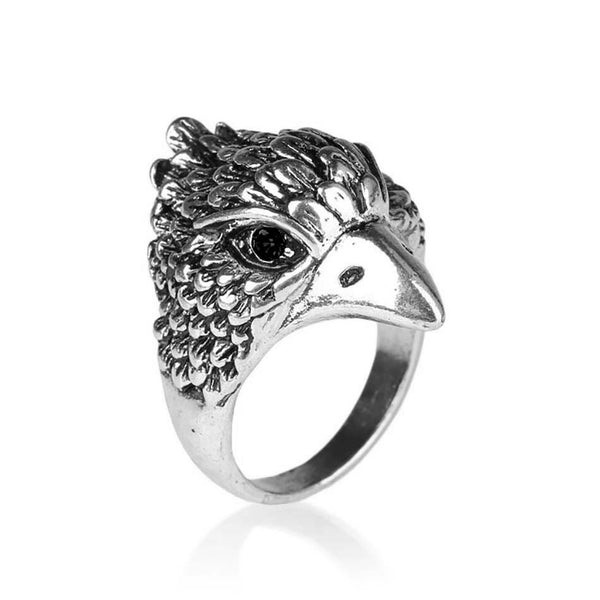 Silver Colour Eagle Head Biker Ring with Black Crystal Eyes - biker-rings.co.uk