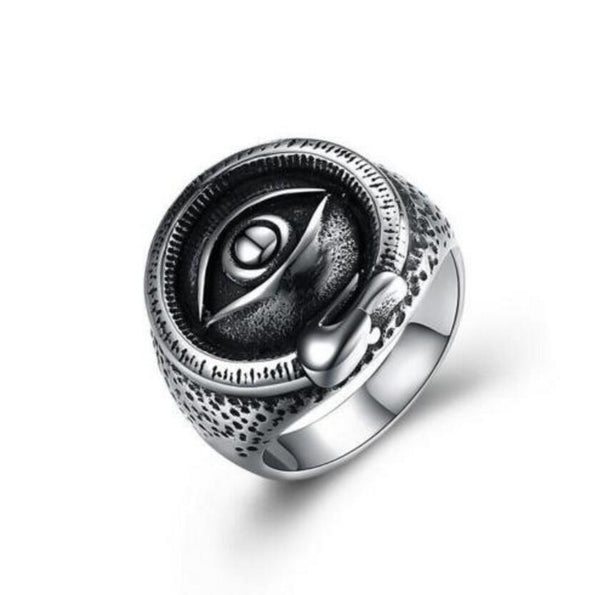 Evil Eye of Horus Biker Round Signet Ring - biker-rings.co.uk