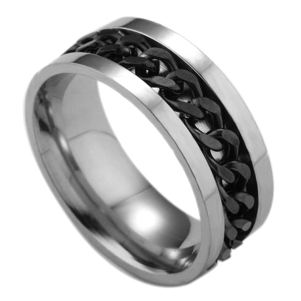 MENS 316L STAINLESS STEEL BLACK SPIN CHAIN RING BAND - biker-rings.co.uk