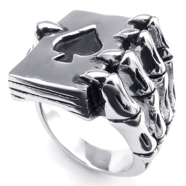 Stainless Steel Ace of Spades Gothic Claw Poker Card Biker Ring - biker-rings.co.uk