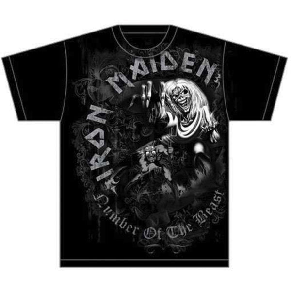 Iron Maiden Mens Licensed Official T-Shirt: Number of the Beast Grey Tone