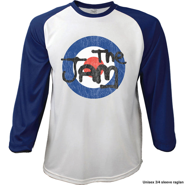 The Jam Mens Officially Licenced Raglan T-Shirt: Target Logo Distressed