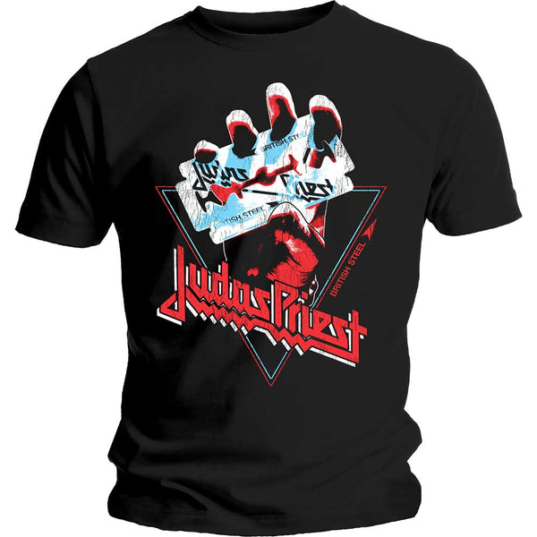 Judas Priest Mens Licensed Official T-Shirt: British Steel Hand Triangle