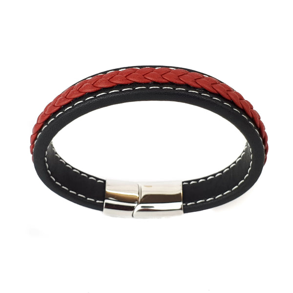 Mens Black Red Braided Leather Bracelet Stainless Steel Black Silver Magnet Clasp - biker-rings.co.uk