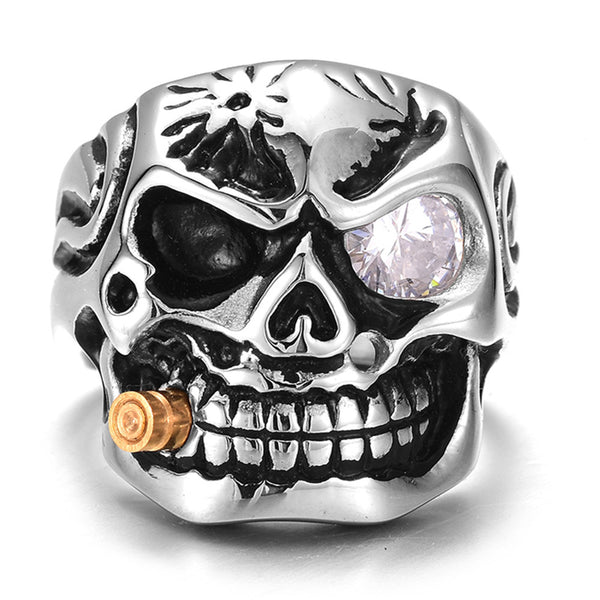 Stainless Steel Clear Crystal Eye Cigar Skull Ring - biker-rings.co.uk