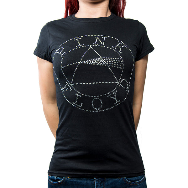 Pink Floyd Ladies Licensed Official Fashion T-Shirt: Circle Logo (Diamante)