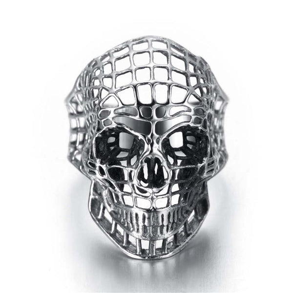 Stainless Steel Gold Day Of The Dead Hollow Carved Web Sugar Skull Ring - biker-rings.co.uk