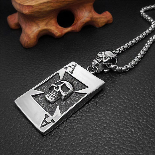 Silver Tone Ace of Spades Skull Card Necklace - biker-rings.co.uk