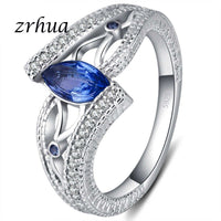 Silver Plated Oval Blue CZ Engagement Ring - biker-rings.co.uk