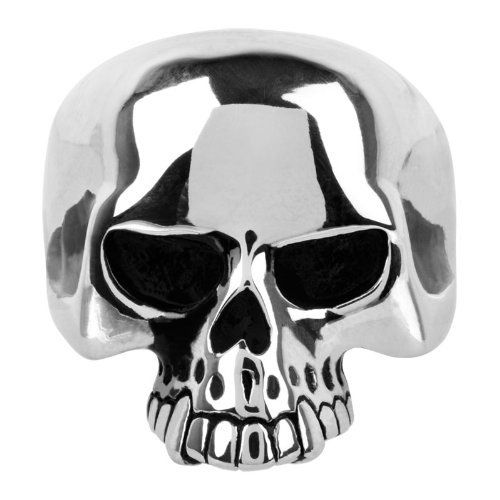 Polished Silver Stainless Steel Half Skull Ring similar to keith richards - biker-rings.co.uk