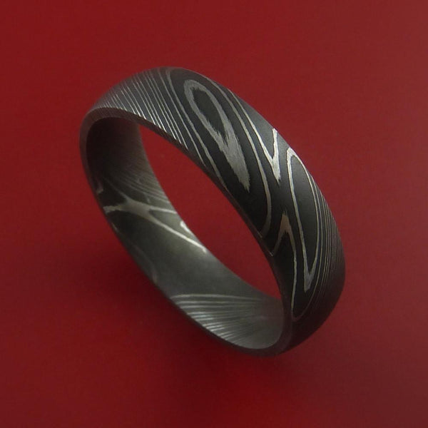 Damascus Steel Acid Etched Mens Wedding Band Ring - biker-rings.co.uk
