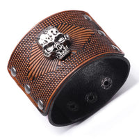 Silver Tone Skull Wide Leather Bracelet Four Colours
