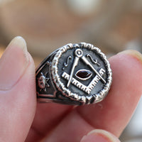 Stainless Steel Red Crystal Masonic Freemason Symbol Ring