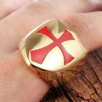 Gold Tone Red Templar Knight Cross Biker Ring