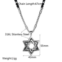 Stainless Steel Star of David Hexagram Black Bead Necklace