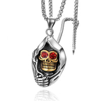 Stainless Steel Red Crystal Gold Silver Skull Necklace