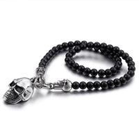 Stainless Steel Skull Pendant Statement 47cm Glass Bead Necklace