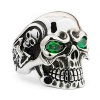 Silver Tone Gothic Red Green Blue Cubic Zircona Skull Ring
