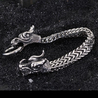 Stainless Steel Double Dragon Head Bracelet 22.5cm